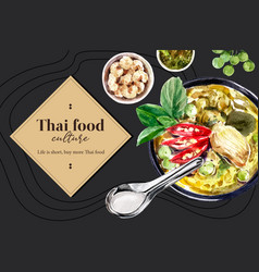 Thai food social media design with green curry vector