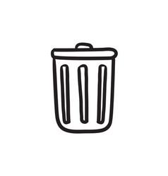 Trash can sketch icon vector