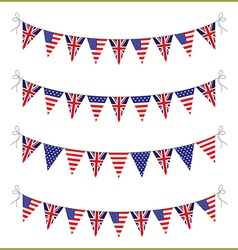 usa and uk bunting vector image