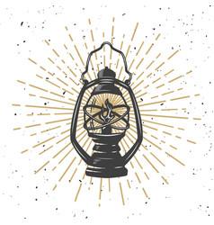 Vintage kerosene lamp with light lines vector