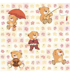 wallpaper with stuffed bear cubs3 vector image