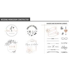 Wedding monogram constructor invitation cards vector
