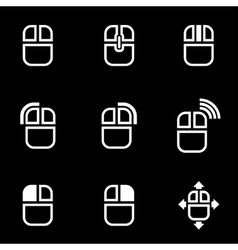 white computer mouse icon set vector image