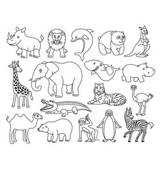 Wild animals black and white graphic in line vector