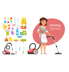 woman household character vacuuming vector image