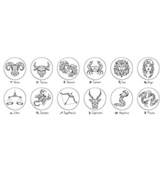 zodiac signs sketch cancer scorpio and pisces vector image