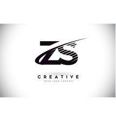Zs z s letter logo design with swoosh and black vector