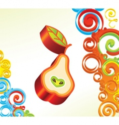 background with 3d pear vector image