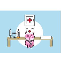 cute medical cat vector image vector image