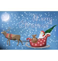 Merry Christmas post card with flying Santa Claus vector image vector image
