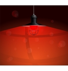 Ancient black lamp hanging with red bulb Big and vector image vector image