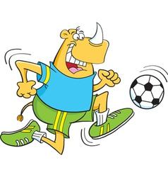 Cartoon Rhino Playing Soccer vector image