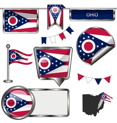 Glossy icons with Ohioan flag vector image