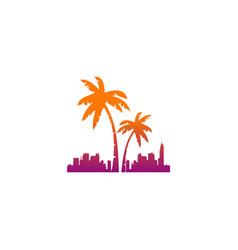 palm tree hotel tropic logo vector image