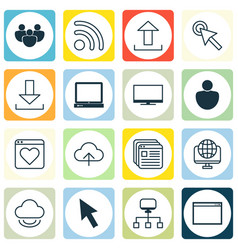 set of 16 world wide web icons includes data vector image