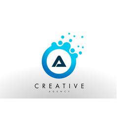 a letter logo blue dots bubble design vector image vector image