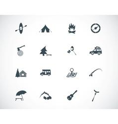 black camping icons set vector image vector image