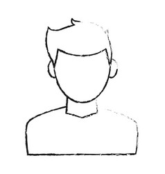 blurred silhouette cartoon faceless half body man vector image