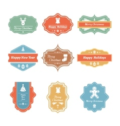 Christmas badges collection vector image vector image