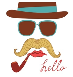 Hello card with colorful mustache party elements vector image vector image
