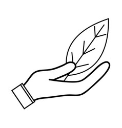 Line natural leaf to conservation the environment vector