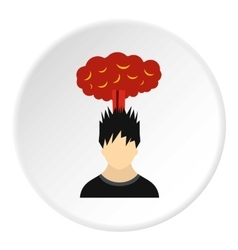 Male avatar and explosion brain icon flat style vector image