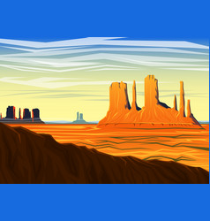 mountain and monument valley morning panoramic vector image
