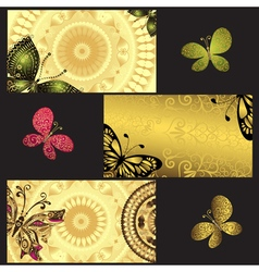 Set of golden business cards vector image vector image