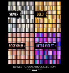Set of ultra violet gold and silver gradient vector