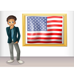 A framed flag of the USA beside a man vector image vector image