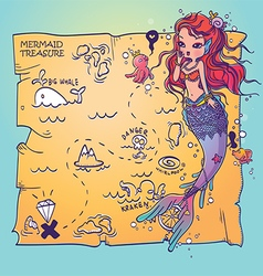 A Mermaid and Treasure Map vector image vector image