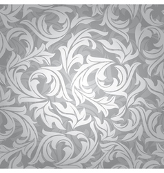 abstract seamless silver floral background vector image vector image