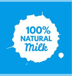 badge milk splash and blot isolate on background vector image
