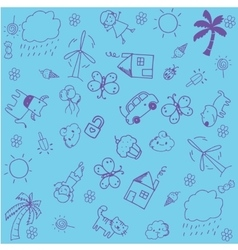 Blue of doodle design for kids vector image vector image