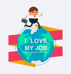 Businessman holding briefcase running on globe vector image