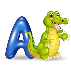 Cartoon of A letter for Alligator vector image