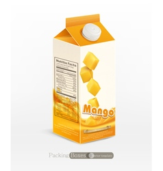 pack of mango juice isolated on white background vector image