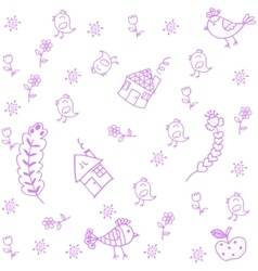 Purple House and leaf doodle art vector image vector image