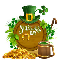 st patricks day party text greeting card gold vector image