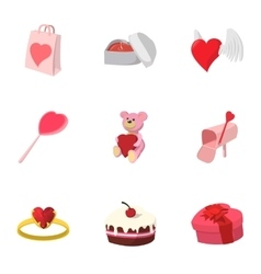 Valentines day february 14 icons set vector image