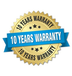 10 years warranty 3d gold badge with blue ribbon vector