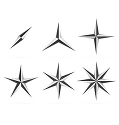 3d shapes 345 pointed beveled stars vector