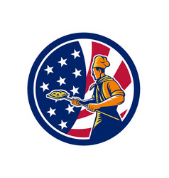 american pizza baker usa flag icon vector image