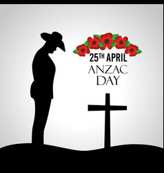 Anzac day celebration greeting card silhouette vector