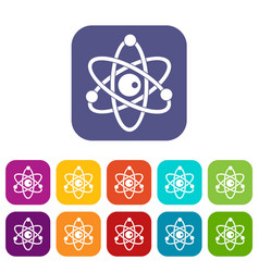Atomic model icons set flat vector