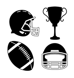 Ball helmet and trophy of american football design vector