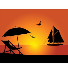 beach and yacht vector image