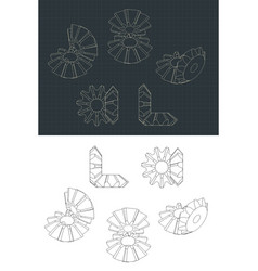 Bevel gear module drawings vector
