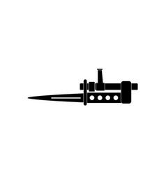 Black icon on white background knife bayonet on vector