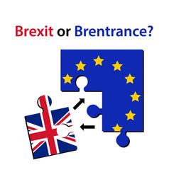 brexit or brentrance puzzle pieces with europian vector image